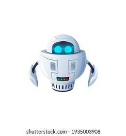 Humanoid robot isolated futuristic cyborg digital character with big digital eyes. Vector modern kids toy, white robotic friendly bot, artificial intelligence electronic automaton, space bot