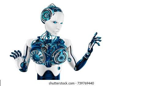 humanoid robot woman points the forefinger. beautiful cybernetic woman's body. Artificial intelligence makes a decision or makes a choice. Future concept