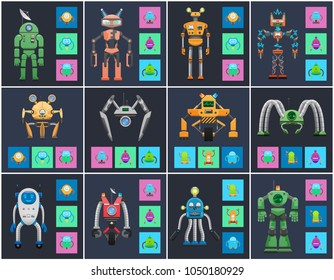 Humanoids and droids collection, vector posters, illustration with standing on legs and wheels cyborgs, abstract eyes, set of droids icons in squares