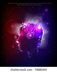 human's brain power illustration