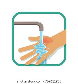 Human's burned hand under cool running water. Treatment for first degree burns. Injury concept. Flat vector design for poster, flyer or educational book