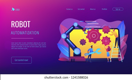 Humans and cobot robotic arm collaborate at laptop fixing gears. Collaborative robotics, cobot automatization, safe industry solutions concept. Website vibrant violet landing web page template.