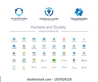 Humans group, Society creative symbols set. People protect, teamwork, collaboration abstract business logo concept. Family, friend, leader icons. Corporate identity logotypes, company graphic design