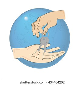 Humans hand holding keys and Earth on isolated white background.