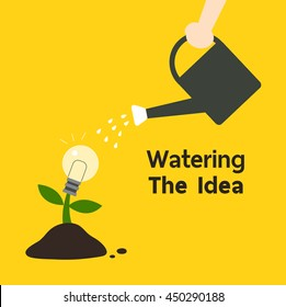 Human's hand watering the tree of creativity idea growth, Intelligent concept illustration. Flat design.