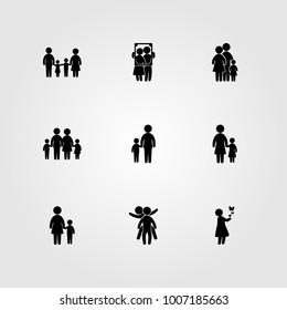 Humans icon set vector. dad, family, baby girl and mom
