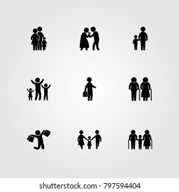 Humans icon set vector. daddy, couple, man and mother
