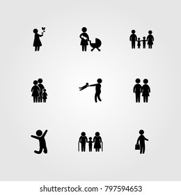Humans icon set vector. father, girl, man and couple