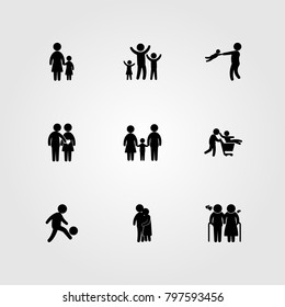 Humans icon set vector. love, couple, son and elderly