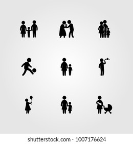 Humans icon set vector. mom, boy, baby and baby girl