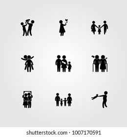 Humans icon set vector. mother, old woman, mom and son