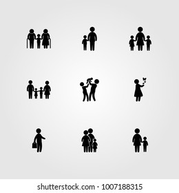 Humans icon set vector. mother with son, childen, child and baby girl