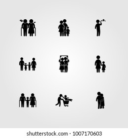 Humans icon set vector. people hugging, old woman, child playing and dad