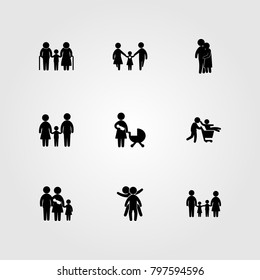 Humans icon set vector. people hugging, child, two childs playing and father