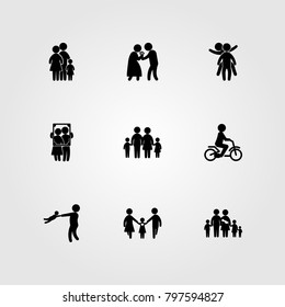 Humans icon set vector. portrait, love, boy and family