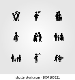 Humans icon set vector. woman, woman with balloons, family and child
