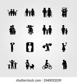 Humans icons set. Vector illustration girl, man with bags, father with baby and childen