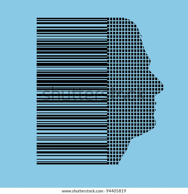 humans identified by barcode concept