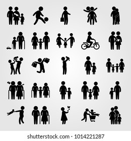 Humans vector icon set. old woman, mother, businessman and couple