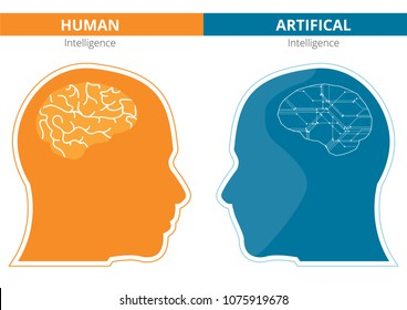 Humans vs Robots. AI artificial intelligence and human intelligence Concept business illustration. Vector design