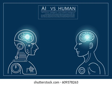 Humans vs Robots. AI artificial intelligence and human intelligence Concept business illustration. Vector flat design.