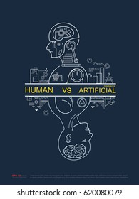 Humans vs Robots. AI artificial intelligence and human intelligence Concept business illustration. Vector flat design to poster.