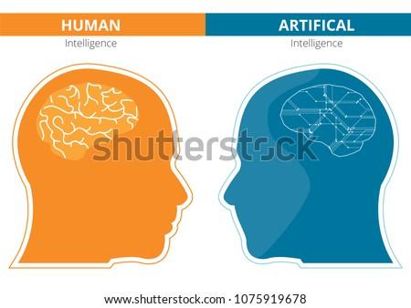 Humans Vs Robots Ai Artificial Intelligence Stock Vector Royalty