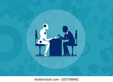 Humans vs Robots. Business illustration flat style vector