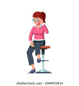 Humble red haired woman looking over glasses sitting on bar stool flirting with viewer. Flat style isolated vector character illustration