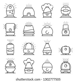 Humidifier icons set. Outline set of humidifier vector icons for web design isolated on white background