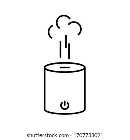Humidifier with steam jet. Linear icon of cylindrical electronic device for wetting indoor air. Illustration for fight against dry skin, good for breathing. Contour vector of home diffuser or purifier