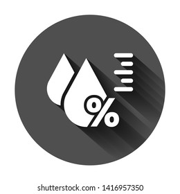 Humidity icon in flat style. Climate vector illustration on black round background with long shadow. Temperature forecast business concept.