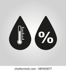 Humidity icon. Weather and meteorology, thermometer symbol. Flat design. Stock - Vector illustration