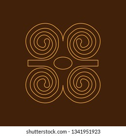 Humility with strength or symbol of wisdowm adinkra symbol. Tribal symbol in Africa. Vector illustration.