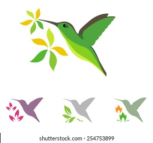 Humming bird and flowers vector icons