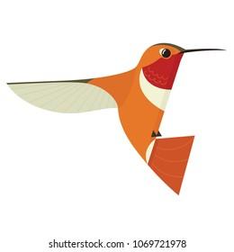 Humming bird icon Geometric cartoon flat Vector illustration Stylized animal isolated