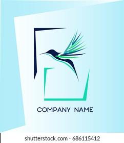 Humming bird. Kolibri bird. Company logo.