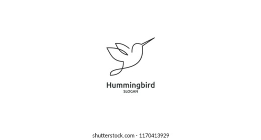humming bird line logo icon designs