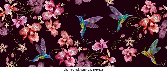 Humming bird and orchid exotic tropical flowers horizontal seamless pattern. Fashion template for clothes. Spring garden, floral art