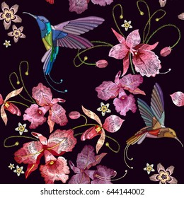 Humming bird and orchid exotic tropical flowers seamless pattern. Template for clothes, embroideries, t-shirt design. Beautiful classical embroidery, humming-bird, orchids flowers