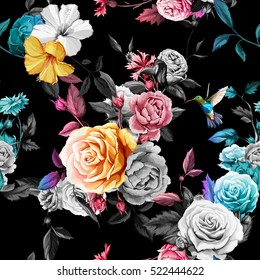 Humming bird, roses, peony with leaves on black background. Watercolor.  Seamless background pattern. Vector - stock