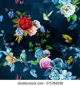 Humming bird,wild roses, peony, cornflower with leaves on dark blue.Abstract. Watercolor. Seamless background pattern. Vector - stock.