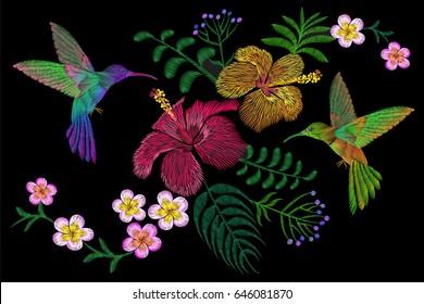 Hummingbird around flower plumeria Frangipani hibiscus exotic tropical summer blossom. Embroidery fashion patch decoration textile print black background template art