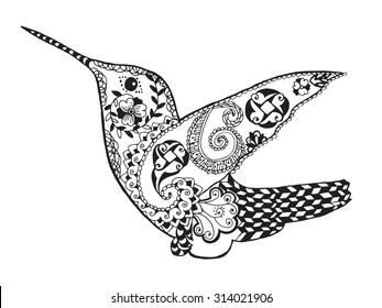 Hummingbird. Black white hand drawn bird animal floral doodle. Ethnic patterned vector illustration. African, indian, totem, tribal, zentangle design. Sketch for coloring page, tattoo, print, t-shirt.