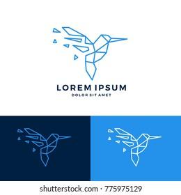 hummingbird colibri bird geometric shattered fractal fraction logo vector icon template monoline