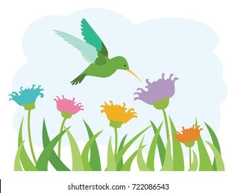 Hummingbird in a Field of Wild Flowers