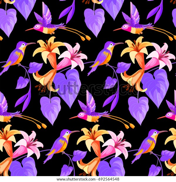 Hummingbird and flowers seamless floral pattern.