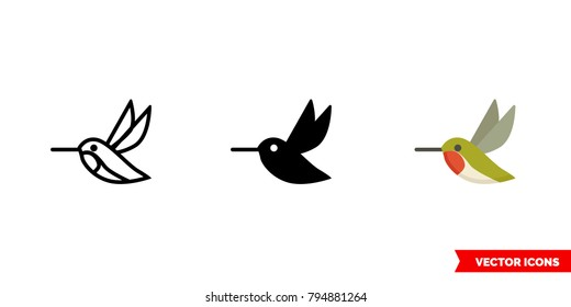 Hummingbird icon of 3 types: color, black and white, outline. Isolated vector sign symbol.