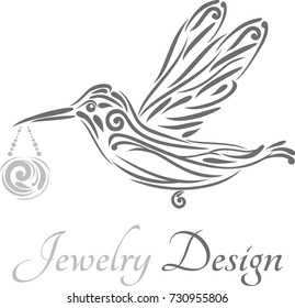 Hummingbird. Icon for jewelry design. Vector