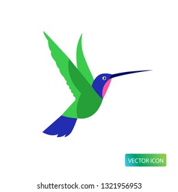 Hummingbird icon or logo design Vector image on white background. Isolated colibri symbol vector illustration. Vector image simple flat style .